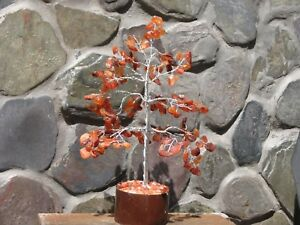 Carnelian Crystal Bonsai Gemstone Tree - On wooden base, Orange Crystal Pieces