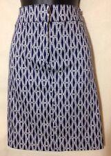 Ellen Tracy Navy & White Geometric Pattern Stretch Skirt, Size-10