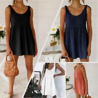 Women Summer Strap Sling Loose Tunic Lace Up Plain Swing Skater Short Mini Dress