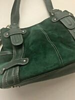 TIGNANELLO Hunter Green Suede and Leather Trim Shoulder Bag w/Key Chain