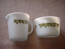 PYREX CORNING SPRING BLOSSOM GREEN TALL CREAMER & SUGAR BOWL FREE USA SHIP