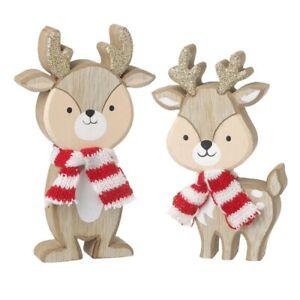 Pair of Wooden Reindeer with scarves