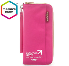 M SQUARE multinational colorful traveling passport wallet bag long  version pink