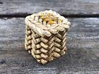 Vintage Small Miniature Snake Charmer Basket w Lid Bone Bovine Asian Marked