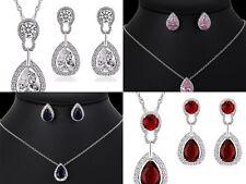 Ladies Women Teardrop Crystal Jewellery Wedding Fashion Necklace Earring Set UK