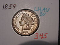 1859 CN INDIAN HEAD CENT CHOICE AU BU NICE COLOR LUSTER BETTER DATE COIN