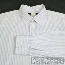 ISSEY MIYAKE White Purple Striped 100% Cotton Mens Casual Dress Shirt - SMALL