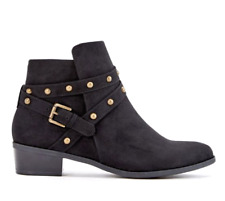 JustFab Violetta Womens UK 5 Black Faux Suede Studded Zip Up Ankle Boots