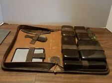 Mens Vintage Travel Leather Toiletry Grooming Kit Leather Woodgrain 9 pc