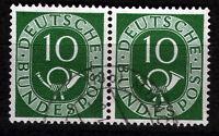 Bund 128 , 10 Pf. Posthorn, waag. Paar, O