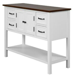 Console Table with 4 Drawers Storage 1-Piece White & Brown Classic Cabinet Shelf