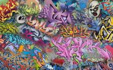 "002 Graffiti Wall - Colourful Print Art 38""x24"" Poster"