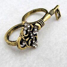 Vintage Art Déco cristal bronce llave doble anillo dedo