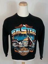 Rare Vtg 80s Harley Davidson Softail 3D Emblem Logo Sweatshirt 1988 L Motorcycle