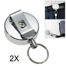 2X Stainless Silver Retractable Key Chain Recoil Keyring Heavy Duty Steel Hot UK
