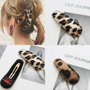 Womens Girl Leopard Hair Clips Hairpin Barrette Snap Bobby Pin Hair Accessories