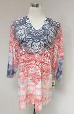 NEW Style & Company Sport LS Peach Indigo Blue Hoodie Tunic Top SZ L MSRP $46.50
