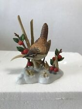 """Lenox """"Marsh Wren on Tan Branches with Red Berries and Green Leaves in the Snow"""""""