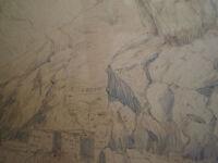 DESSIN ANCIEN ENCRE N°3 LES ALPES VOYAGEURS XIX°s MONTAGNE PAYSAGE LA BELLOIRE