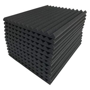 12 Pcs Black Acoustic Panels Soundproofing Foam Acoustic Tiles Studio Foam S W2E