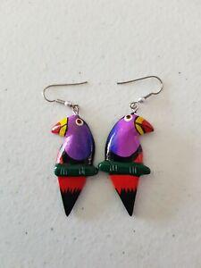 Earrings - Handmade Wooden Parrot Bird Purple Orange 1980s 1990s Hand Painted