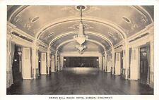 Cincinnati Ohio~Hotel Gibson~Grand Ball Room~Stage for Band at End~1936 Postcard