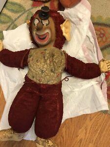 Creepy Vintage Stuffed Rubber Face Clown Doll Brown Face Gund Rushton Era