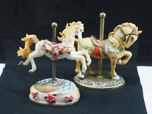 "Two Carousel Horse Statue figurines porcelain resin Willitts ponies 5""  Merry go"