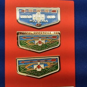 Boy Scout OA 3 Hat Trading Pins Mazama Lodge 421 Order Of The Arrow lot # 235