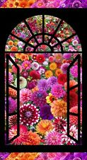"Digital Garden Window Floral 24"" Quilt / Wall Panel Elizabeth's Studio #3610"