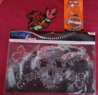 Harley-Davidson Misc LOT Keychain Patch & Skull Rhinestone Helmet or Shirt Decal