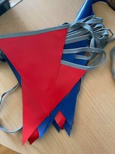 Bunting Flags commercial grade red and blue 13.5m long