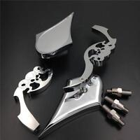 New Skull Blade Rearview Mirrors For Harley Electra Heritage Sportster Glide