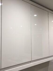 White Handleless Lucente High Gloss Kitchen Door LH Hinge 715mmx396mmx22mm