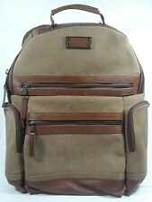 Renwick Business Travel Laptop Backpack Brown Canvas No flawGenuine Leather Trim