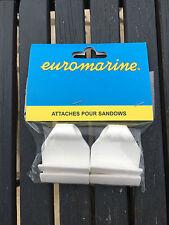 LOT DE 4 ATTACHES SANDOWS BLANCS POUR TAUD OU BACHE EUROMARINE