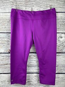 ATHLETA Capri Leggings Yoga XL Fuchsia Zip Back Pocket Reflective