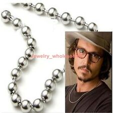 Lot 5pcs Men shiny Silver Stainless Steel Beads ball chain necklace 6mm 22''