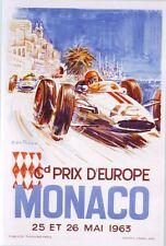 1963 GRAND PRIX DE MONACO réimpression Poster A3