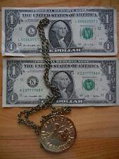 2 US dollar bills spec'l #s L66669557I & K13777788F+Caesar Palace Medal Necklace