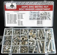240pc Goliath Industrial Zmnb240 Zinc Metric Nut Bolt Washer Assortment