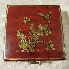 Vintage Chinese Leather Box - Red with Gold Illistrations