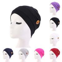 Women Turban Knitted Muslim Hat Elastic Cotton Nurse Hat Cap Headband Head Wrap