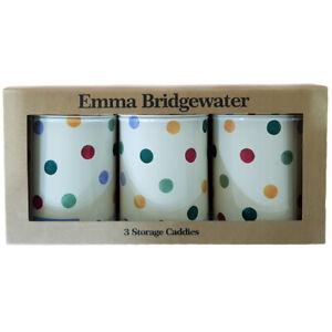 Emma Bridgewater Storage Caddies Polka Dot Design Set of 3 Tins, Caddy 14cm Tall