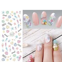 Nail Art Water Decals Transfer Stickers Mermaid Palm Trees Beach Shells Starfish