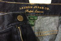 LAUREN RALPH LAUREN Women's Straight Denim Jeans Dark Wash Crop Capri Size 14 R