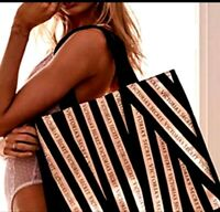 NEW VICTORIA'S SECRET Black Gold Metallic Striped Bombshell Tote Big size BAG