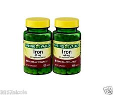 Spring Valley Iron 65 mg, 100ct, 2-Pack Tablets Pills