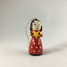 Vintage Wooden Miniature Angel Red Dress Toy Christmas Ornament