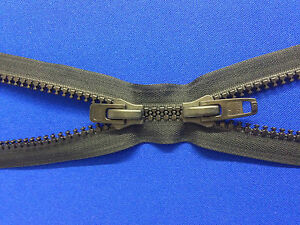 ZIP OPEN END 2 WAY YKK ALL PLASTIC BLACK DOUBLE SLIDER 10 WEIGHT NON RUST CHUNKY